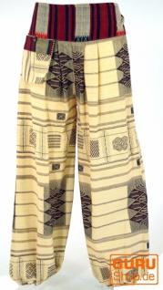 Yogahose, Ikat Pluderhose mit breitem gewebtem Bund - beige