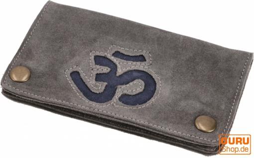 Tabakbeutel, Tabaktasche, Drehtasche aus Leder Om - grau/blau