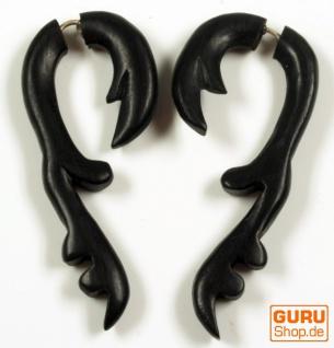 Tribal Holzohrring, Holzspirale, Fake Piercing, Plug - Modell 14
