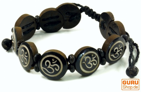 Buddhistisches Armband OM - braun Modell 8