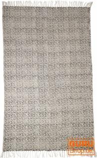 Handgewebter Blockdruck Teppich aus natur Baumwolle mit traditionellem Design - Muster 20
