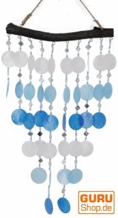 Muschel Mobile, Ethno Windspiel, Sonnenfänger - blau/weiß