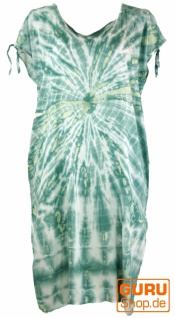 Boho Kaftan, langes Kurzarm Batikkleid, Strandkleid, Sommerkleid in Übergröße - grün/beige