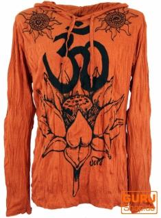 Sure Langarmshirt, Kapuzenshirt Lotus Om - rostorange