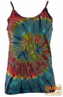 Farbenfrohes Goa-Batik Top, Batiktop - blaugrau