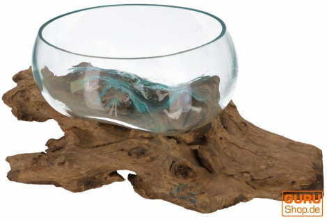 Wurzelholz Vase, Schale, Schüssel - Ø Glas 30 cm M7