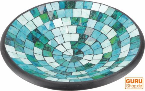 Runde Mosaikschale, Untersetzer, Dekoschale, handgearbeitete Keramik & Glas Obst Schale - Design 24