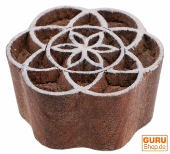 Indischer Textilstempel, Holz Stoffdruckstempel, Blaudruck Stempel, Druck Modell - Ø 5 cm Blume des Lebens 2