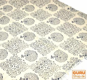 Hangewebter Blockdruck Teppich aus natur Baumwolle mit traditionellem Design - weiß/blau Muster 1
