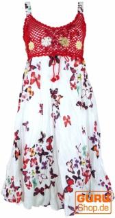 Boho Minikleid, Sommerkleid Schmetterling, Krinkelkleid - weiß/rot