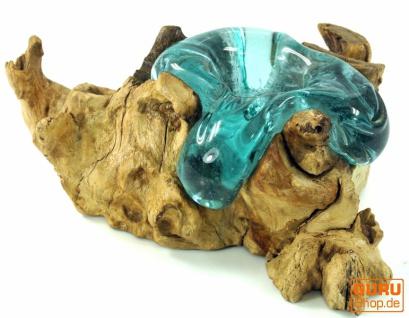 Wurzelholz mit Teelichthalter aus mundgeblasenem Glas - Model 1