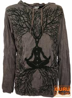 Sure Langarmshirt, Kapuzenshirt Meditation Chakra Buddha - taupe