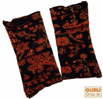 Patchwork Handstulpen, Ethno Goa Armstulpen - schwarz/orange