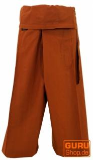 Thai Fischerhose aus fester Baumwolle, Wickelhose, Yogahose, Unigröße - Uni rostorange