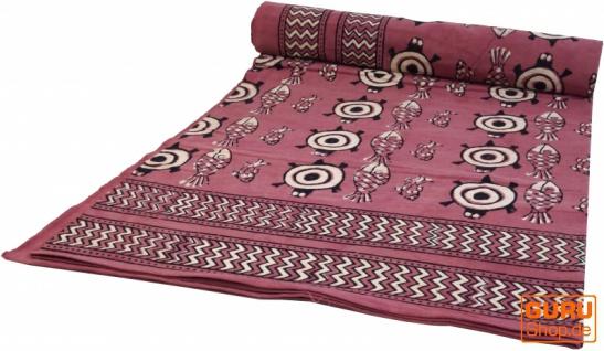 Blockdruck Tagesdecke, Bett & Sofaüberwurf, handgearbeiteter Wandbehang, Wandtuch - rotbraun Schildkröte