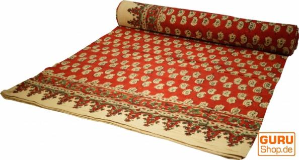 Blockdruck Tagesdecke, Bett & Sofaüberwurf, handgearbeiteter Wandbehang, Wandtuch - rot paisley
