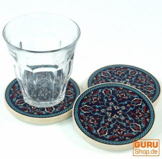 Orientalischer Keramikuntersetzer, runder Untersetzer für Gläser und Tassen mit Mandala Motiv Set - Muster 5