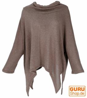 Oversize Pullover mit Rollkragen, Feinstrick Pixi Poncho-Pulli - cappuccino