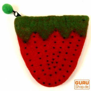 Portemonnaie aus Filz Erdbeere