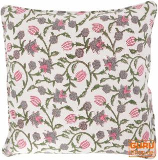 Kissenbezug Blockdruck, Kissenhülle mit Blumendruck, Dekokissen Bezug mit traditionellem Design 50*50 cm - Muster 3