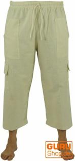 3/4 Yogahose, Shorts, Cargo Hose, Goa Hose - naturweiß