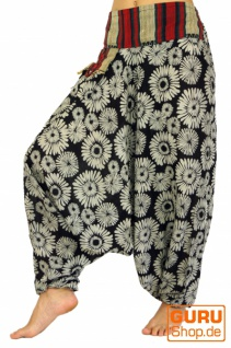 Bedruckte Haremshose, Pluderhose mit breitem gewebtem Bund - schwarz