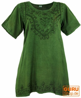 Besticktes indisches Hippie Top, Boho-chic Bluse - dunkelgrün