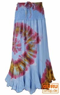 Wandelbarer Hippierock, Batik Rock, Maxirock, Hippie Kleid - blau