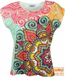 Psytrance T-Shirt, Yoga T-Shirt, Retro T-Shirt - Mandala grün/pink - Vorschau 1