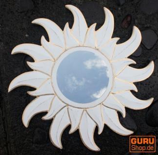 Sonnenspiegel, Deko Spiegel aus Holz in Sonnenform - klein Antikweiß 2