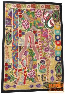 Indischer Wandteppich Patchwork Wandbehang/Tischläufer Einzelstück 90*65 cm - Muster 24