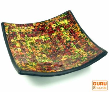 Eckige Mosaikschale, Untersetzer, Dekoschale, handgearbeitete Keramik & Glas Obst Schale - Design 8