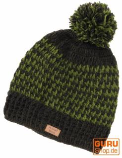 Beanie Mütze, Bommelmütze, Wollmütze aus Nepal - olivgrün/lemon