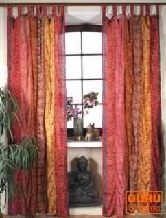 Boho Patchwork Vorhänge, 1 Paar Bohemia Gardine aus Sareestoff, Unikat - orange