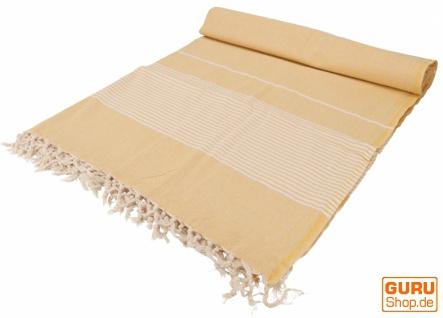 Weiche gewebte double Tagesdecke `Kerala` aus Baumwolle mit Fransen - gelb
