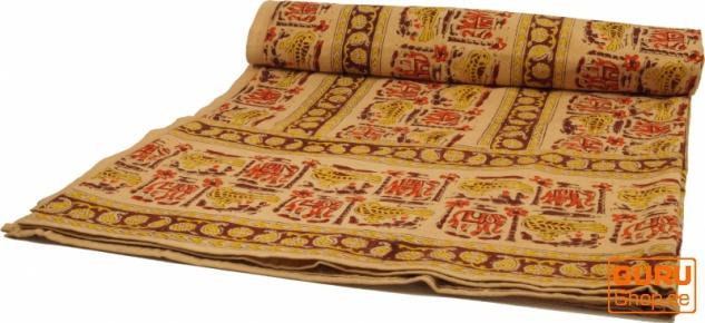 Blockdruck Tagesdecke, Bett & Sofaüberwurf, handgearbeiteter Wandbehang, Wandtuch gelb, braun, orange - Design 15