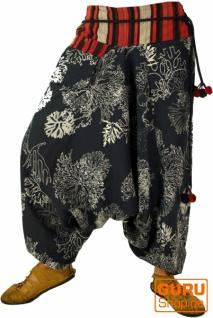 Bedruckte Haremshose mit breitem gewebtem Bund - schwarz