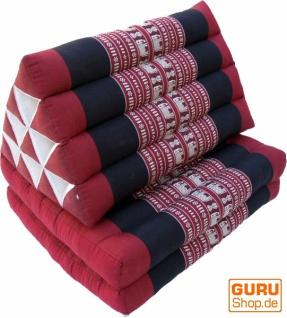 Thaikissen, Dreieckskissen, Kapok, Tagesbett mit 2 Auflagen - Elefant dunkelrot/schwarz