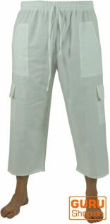 3/4 Yogahose, Shorts, Cargo Hose, Goa Hose - weiß