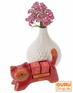 Holz Kalender - Katze rot