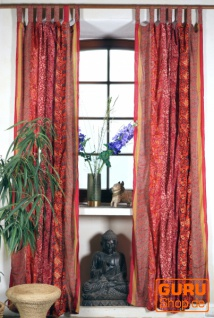 Boho Patchwork Vorhänge, 1 Paar Bohemia Gardine aus Sareestoff, Unikat - rot