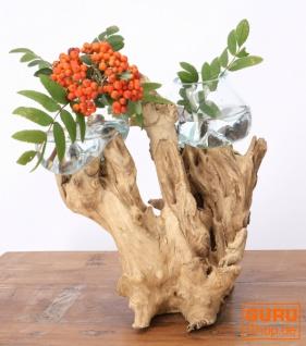 Exotische Wurzelholz Vase mit zwei Gläsern - 2 * Ø Glas bis 10 cm