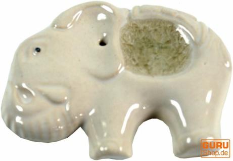 Räucherstäbchenhalter Elefant aus Keramik weiß - Modell 4