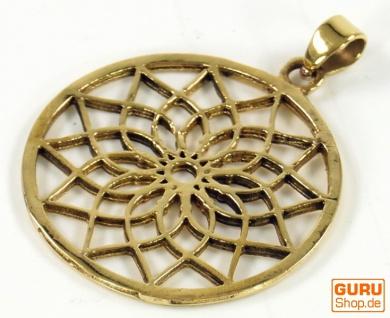 Amulett `Blume des Lebens`, Kettenanhänger aus Messing