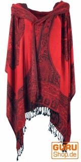 Pashmina-Viskose Schal, Indische Boho Stola mit Paisley Muster - rot