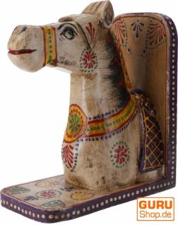 Buchstütze `Pferd` - weiß