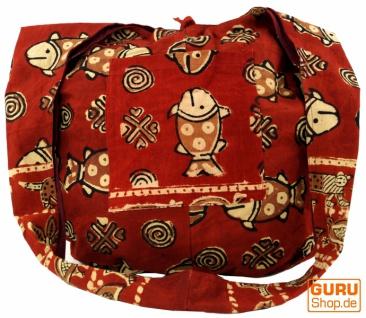 Sadhu Bag, Umhängetasche, Blockdruck Hippie Schultertasche - rot/Fisch