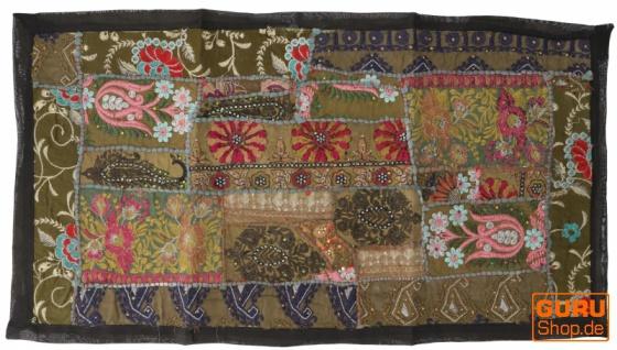 Indischer Wandteppich Patchwork Wandbehang, Tischläufer, Einzelstück 85*45 cm - Muster 19