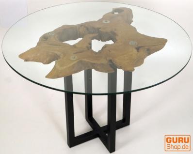 Tisch, Eßtisch, Kaffeetisch, Beistelltisch, Couchtisch mit Baumscheibe und runder Glasplatte - Modell 6
