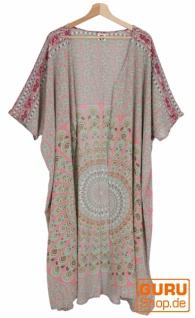 Leichter Sommer Kimono, Umhang, Strandkleid mit Mandala Muster - pink/grün